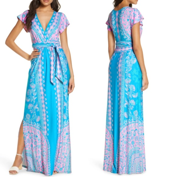 Lilly Pulitzer Esmarella maxi dress blue pink teal
